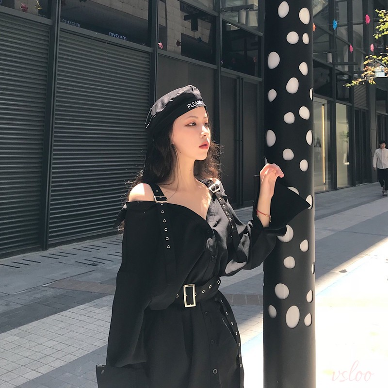 9b8d9c07304a7 ワンピース】ファッションVネック無地ストラップワンピース   人気韓国 ...