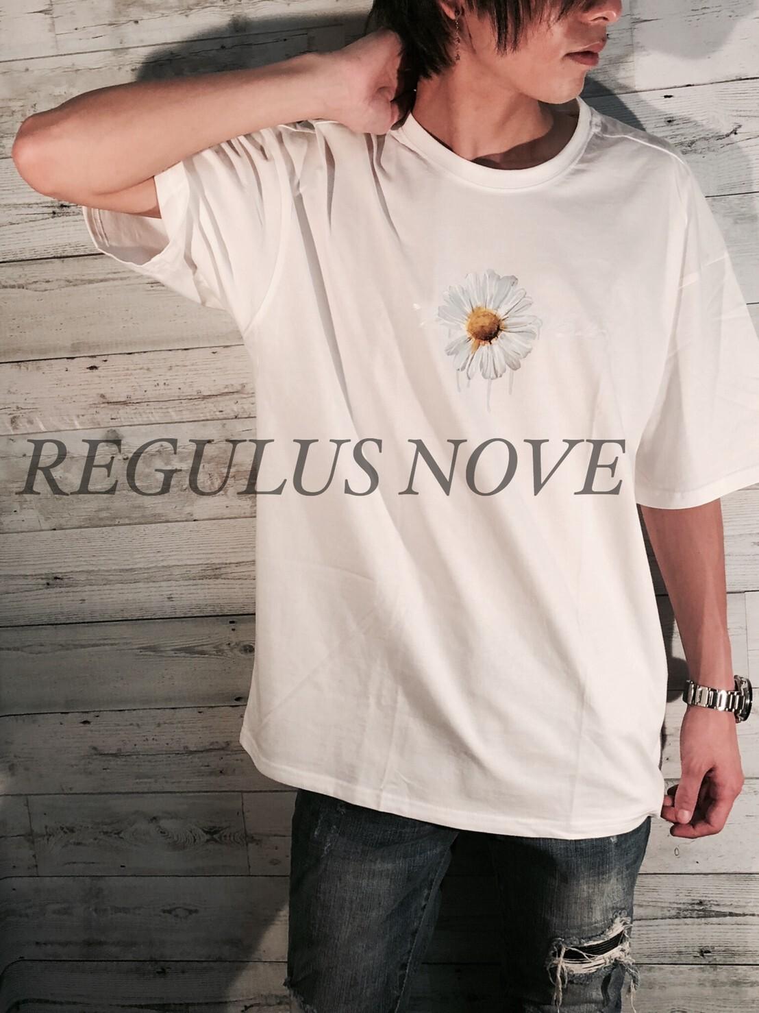 【メール便対応】 REGULUS NOVE DAISYプリントメッセージBIGTシャツ WHITE ユニセックス レディース メンズ オーバーサイズ 大きいサイズ 派手 韓国 プリント 個性的 ストリート ロック
