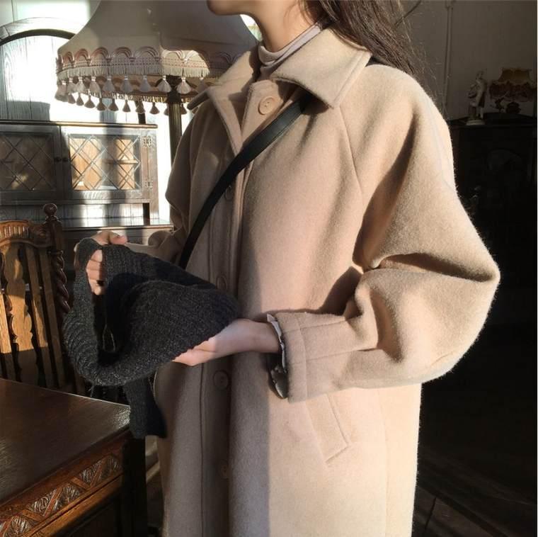 【送料無料】 ナチュラルガーリー♡ ウール ロング コート ゆるシルエット 大人可愛い ドロップショルダー