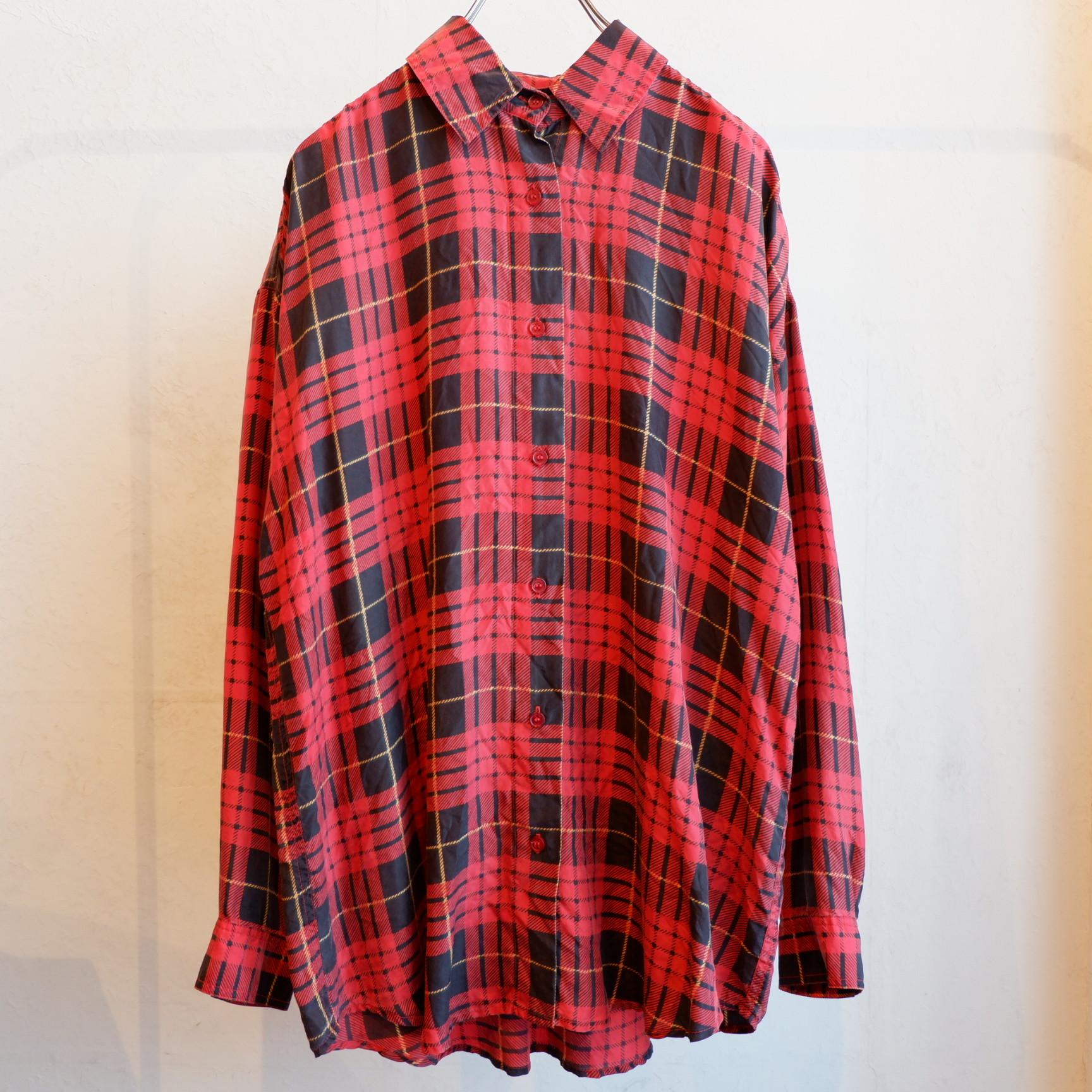 アメリカ古着 タータンチェック シルクシャツ