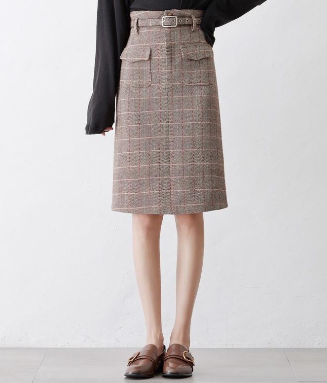 ミディスカート レトロ ミディアム丈 ハイウエスト チェック柄 スリム Aライン 大きいサイズ レディース スカート