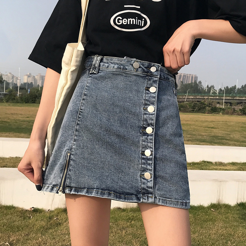 【bottoms】レトロ無地切り替えデニムスカート20640898