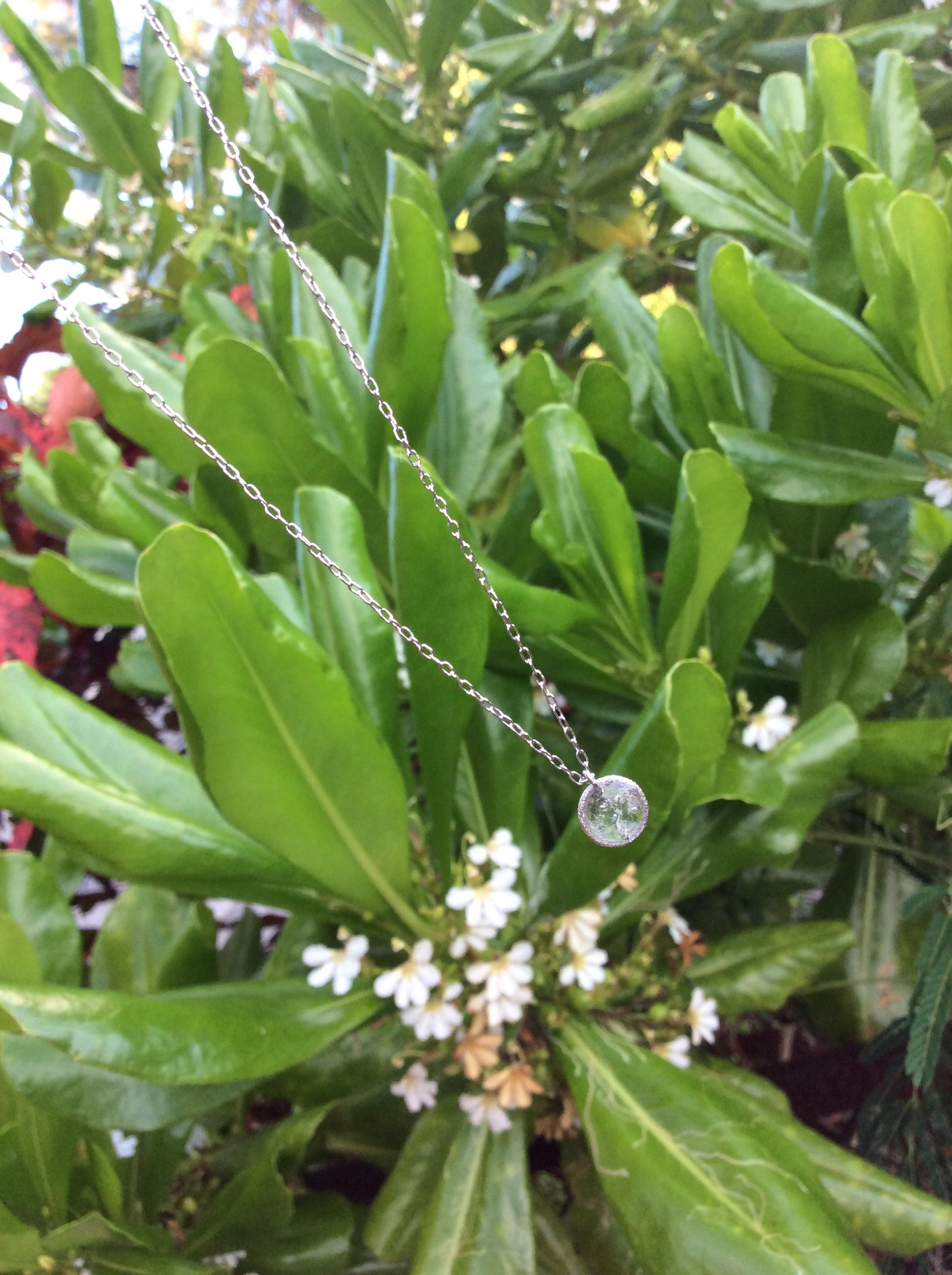 silver necklace - ryukyu glass -