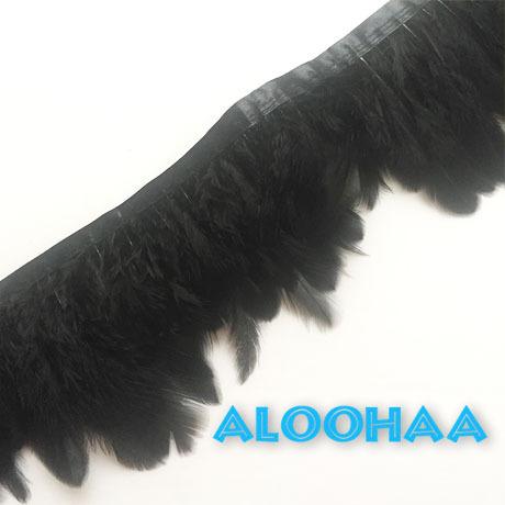 フェザーロール【ブラック】7-12cm丈 1m #31-002BK-CT DIY 羽 衣装材料 タヒチアン