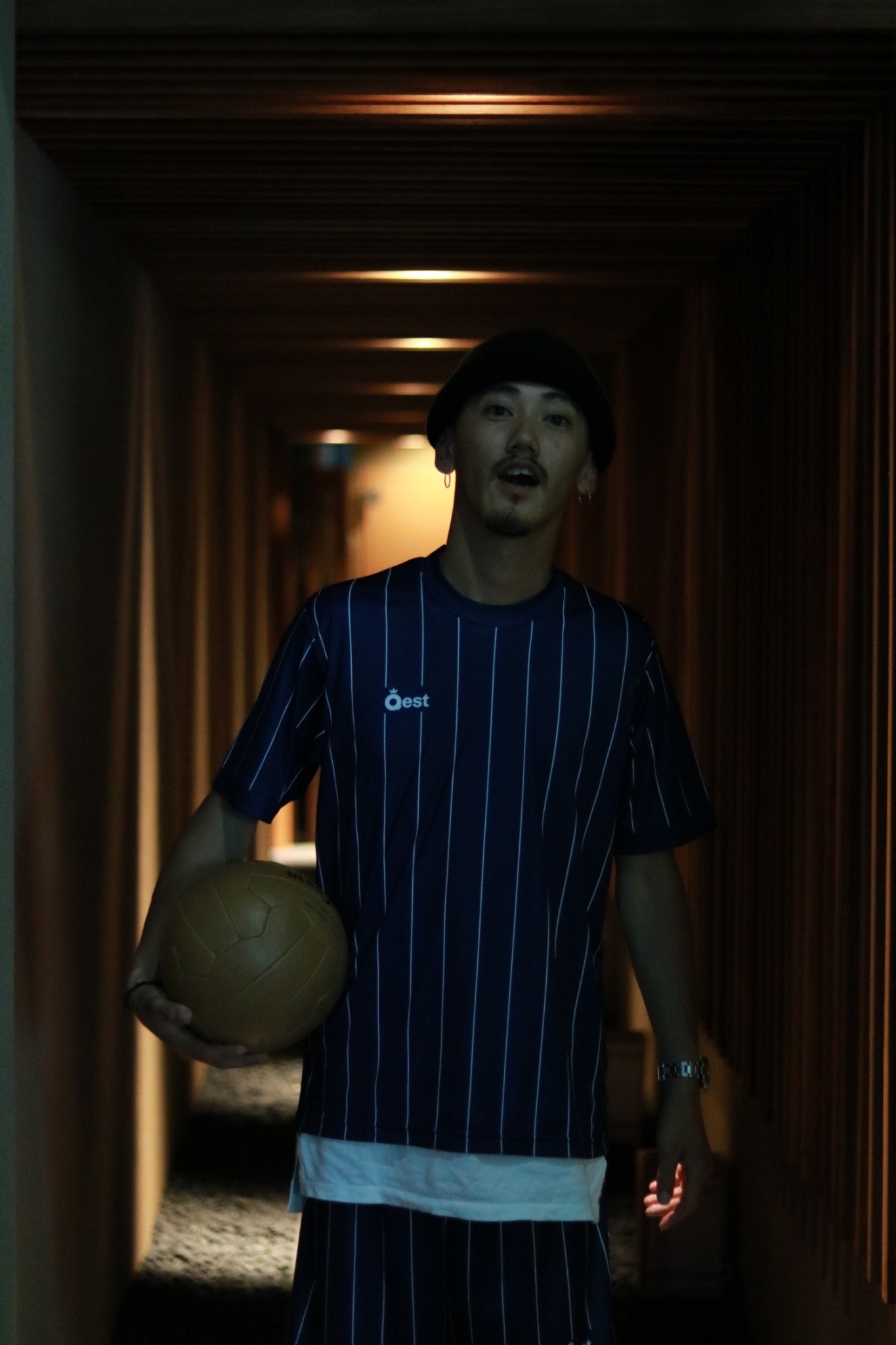 Simple Stripe Practice Shirt / Navy - 画像3