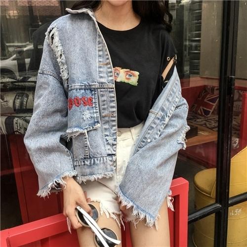 刺繍ロゴ デニムジャケット