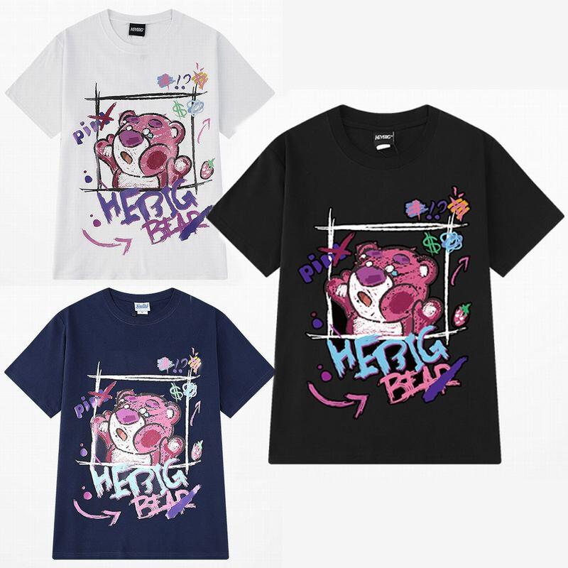 ユニセックス 半袖 Tシャツ メンズ レディース かわいい 落書き風 クマちゃん プリント オーバーサイズ 大きいサイズ ルーズ ストリート
