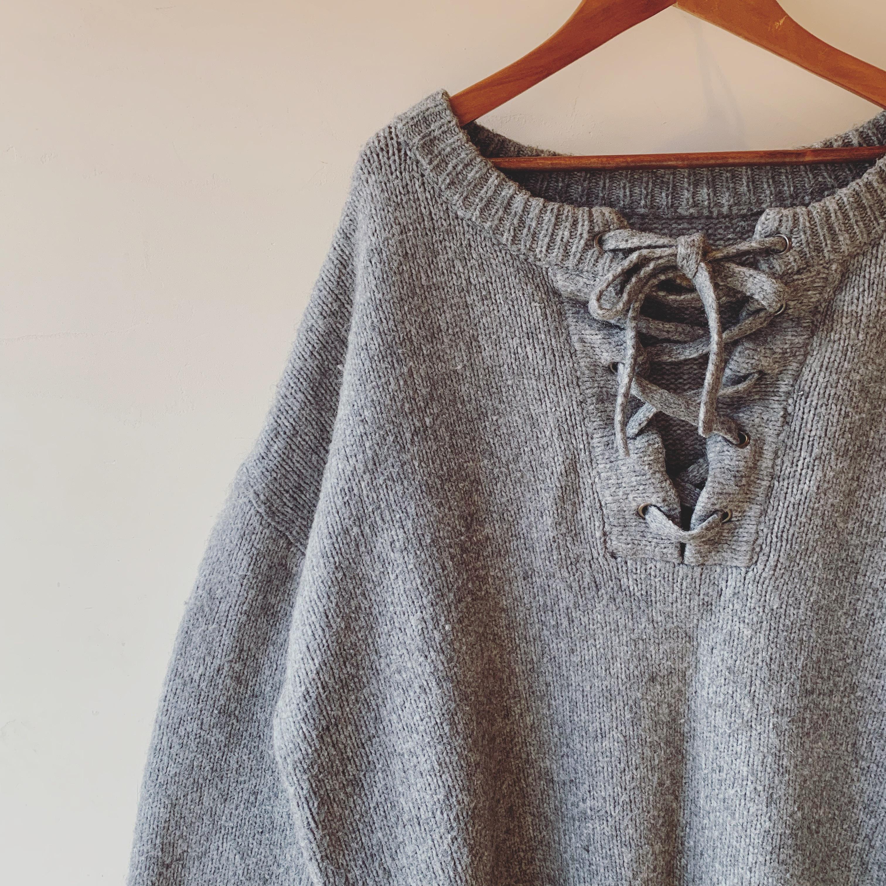 vintage ribbon neck knit cardigan