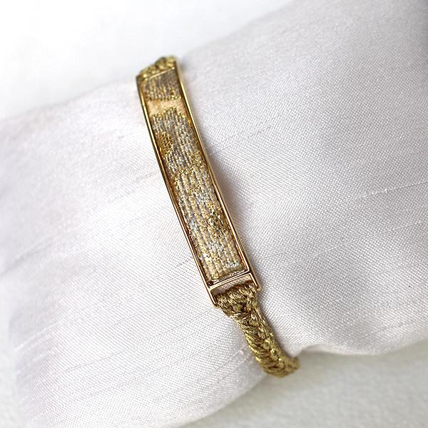 西陣織「金襴」ブレスレット ゴールド×ホワイト01