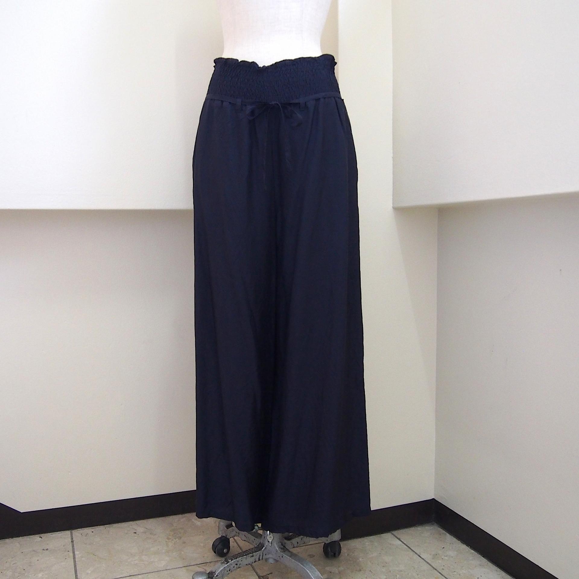 【hippiness】cupro shirring pants (245navy) /【ヒッピネス】キュプラシャーリングパンツ(245ネービー)