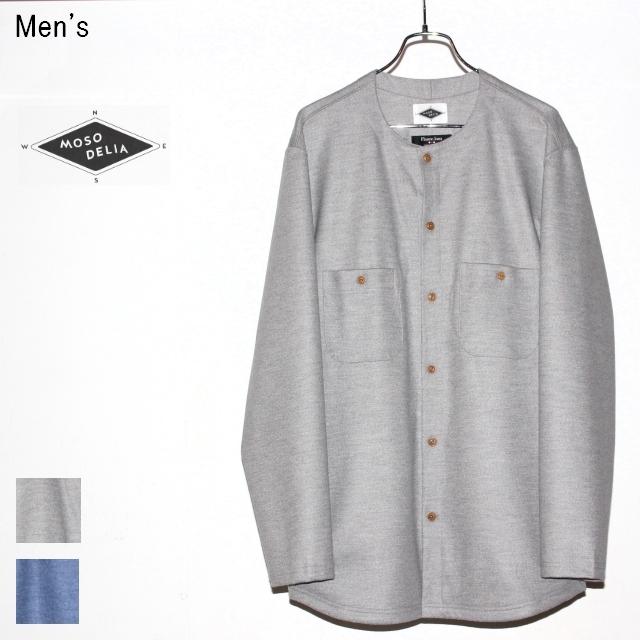 MOSODELIA ウールノーカラーシャツ Collarless Shirts (L.GRAY)