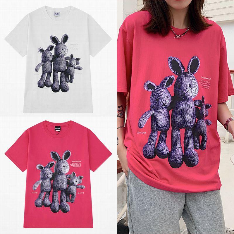 ユニセックス Tシャツ 半袖 メンズ レディース ラウンドネック ラビット うさぎ プリント オーバーサイズ 大きいサイズ ルーズ ストリート