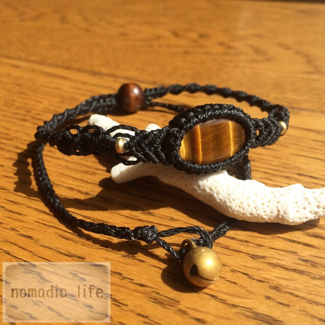 No.4//Tiger-eye bracelet from India/タイガーアイマクラメブレスレット