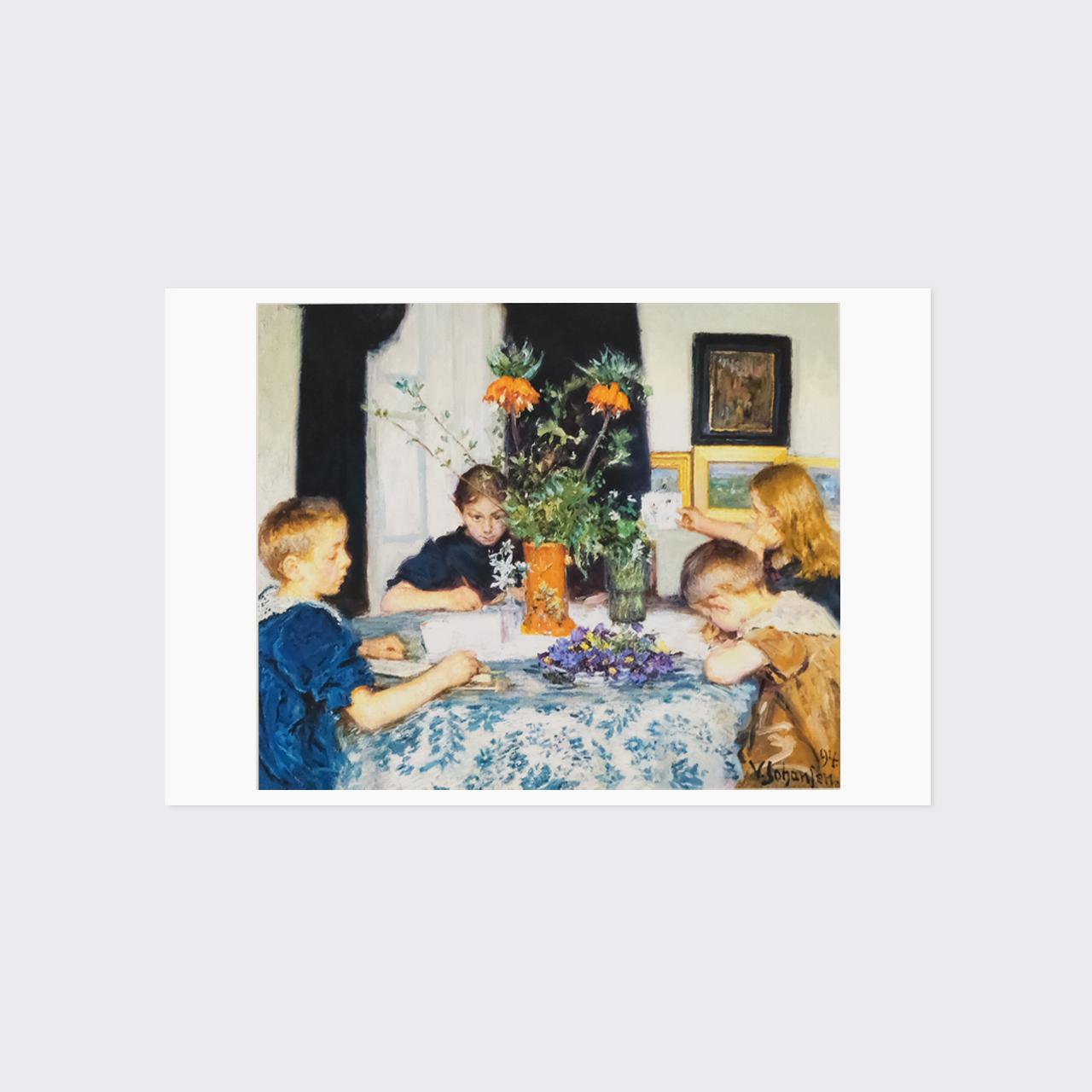 ヨハンスン ポストカード 「春の草花を描く子供たち」