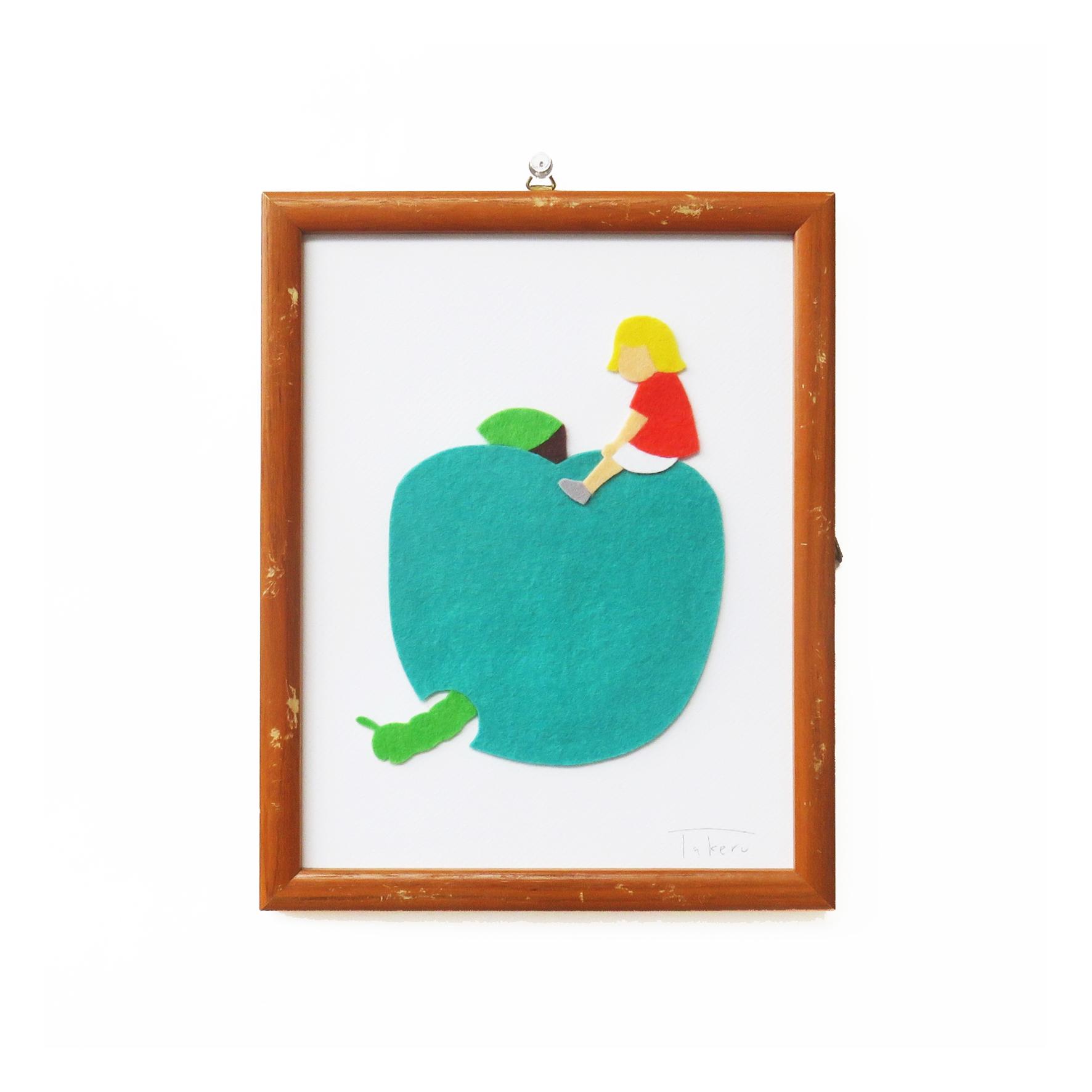 フェルトピクチャー(青リンゴ女の子)
