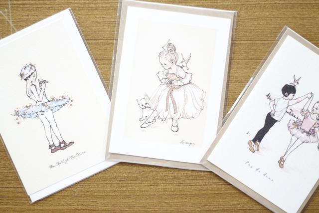 バレリーナイラストA6二つ折りカード