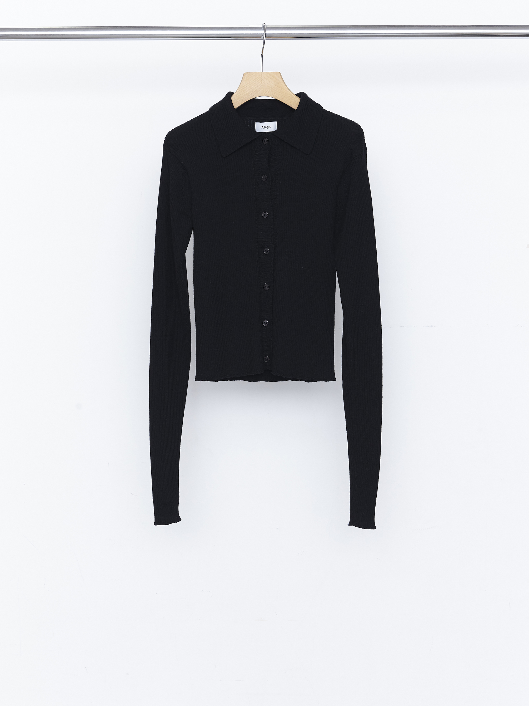 Standard Wool Rib Cardigan - Black