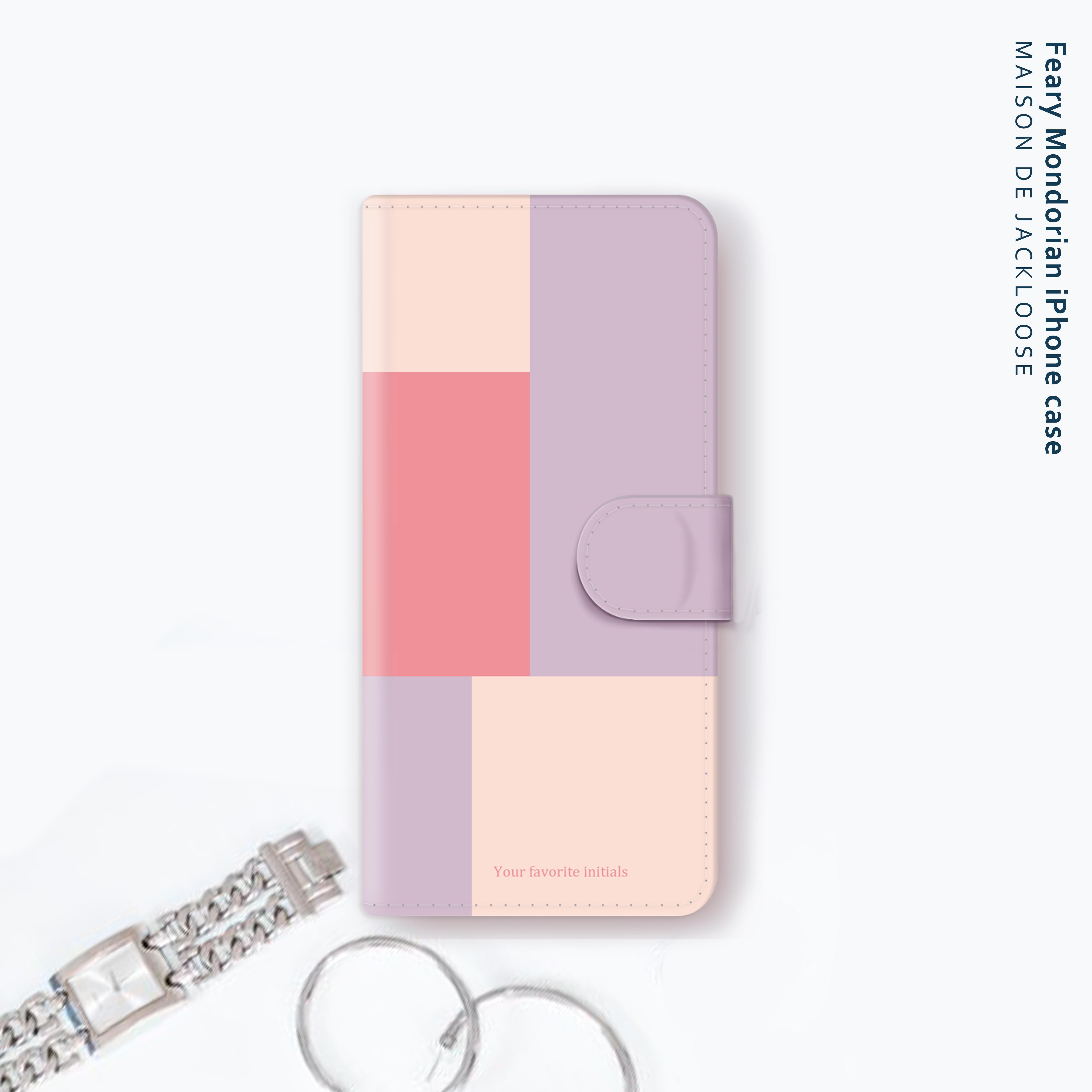 フェアリーモンドリアン・お名前入れ【iPhone Androidスマホケース・全機種対応 専用カメラホール】