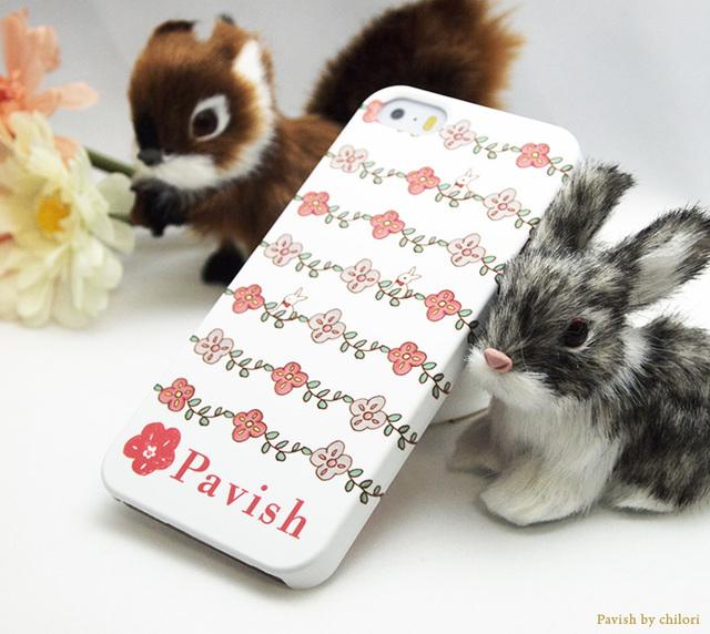 iPhone5、5S、SEケース★女性の運気全般をアップさせるモチーフ★うさぎ&花