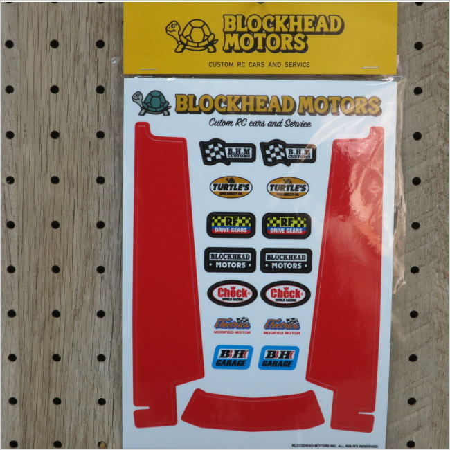 BLOCKHEAD MOTORS シャーシ用デカールセット:レッド(ホーネット・グラスホッパー用)
