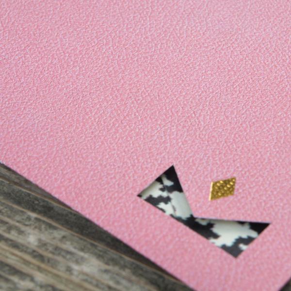 【ピンク×千鳥柄】カード付スタイリッシュ封筒 HNG01J
