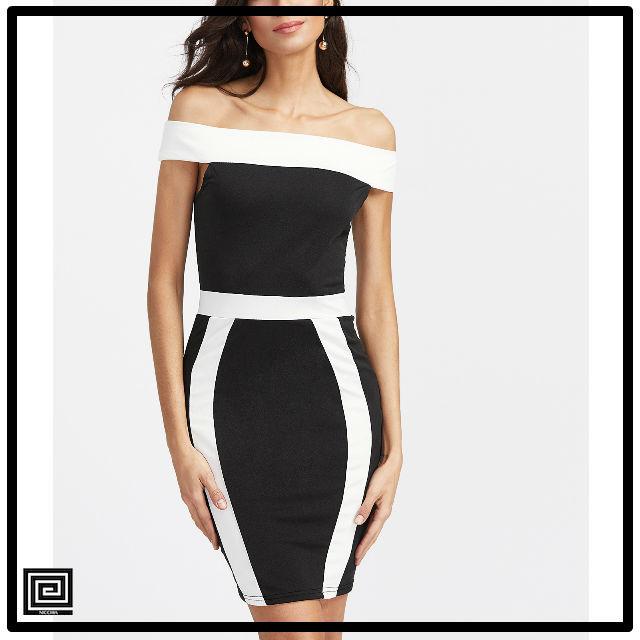 カラーブロックオフショルダーシースドレス
