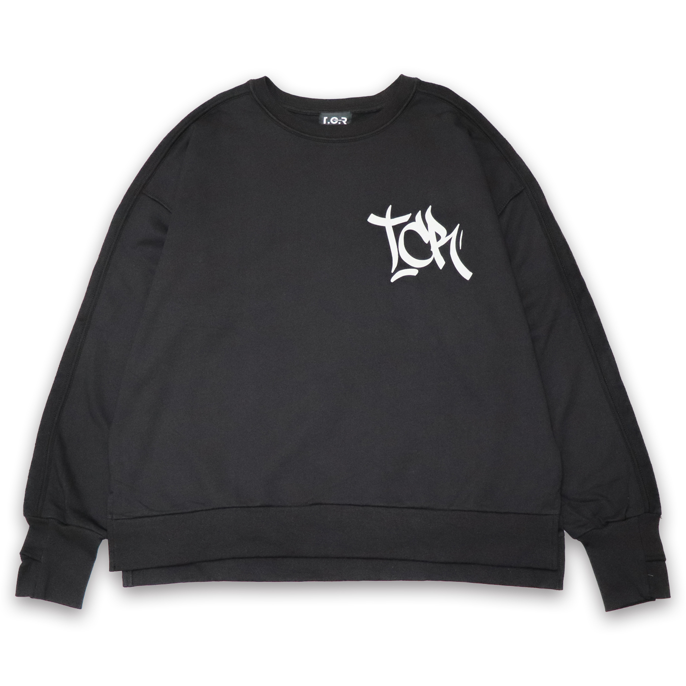 T.C.R FOAM LOGO CREW SWEAT - BLACK