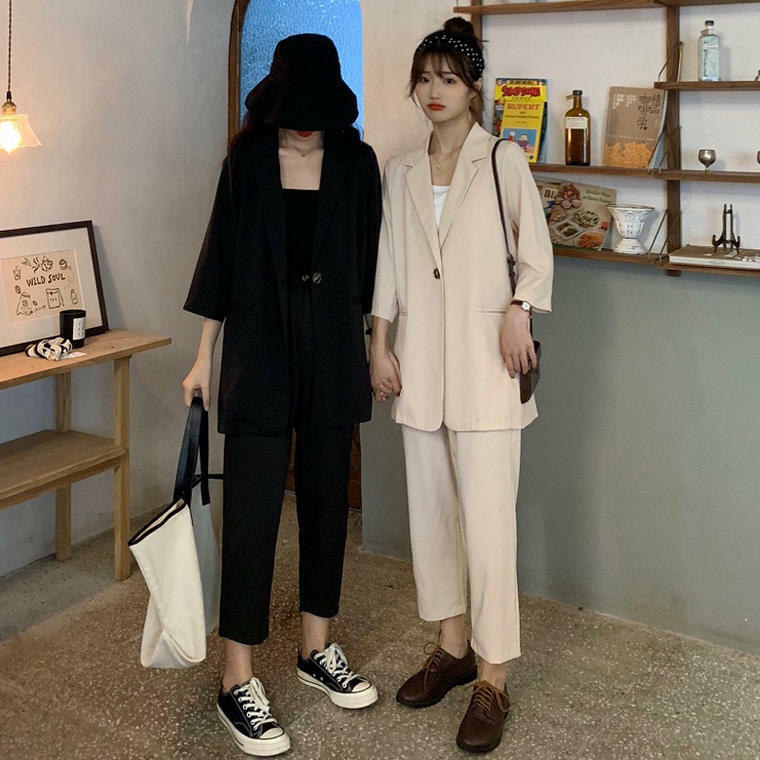 【送料無料】おしゃれセットアップ ♡ ワントーンコーデ メンズライク ロングジャケット × クロップドパンツ