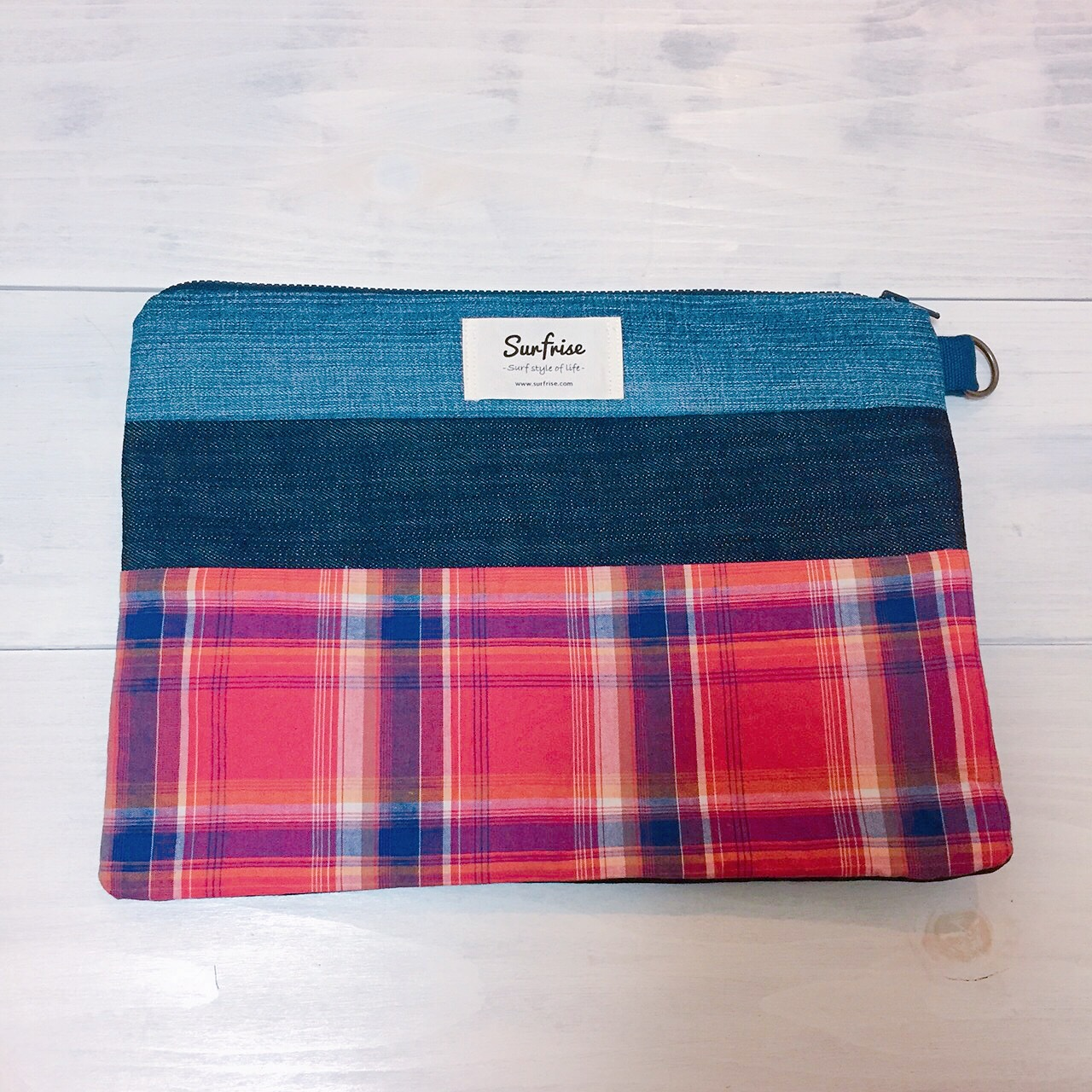 Denim clutch bag Check6(Red)