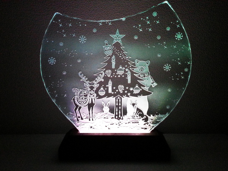 森のクリスマスのガラスエッチングパネル Mサイズ・LEDスタンドセット