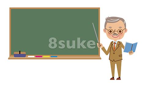 イラスト素材:黒板を使って授業をする熟年の先生(ベクター・JPG)