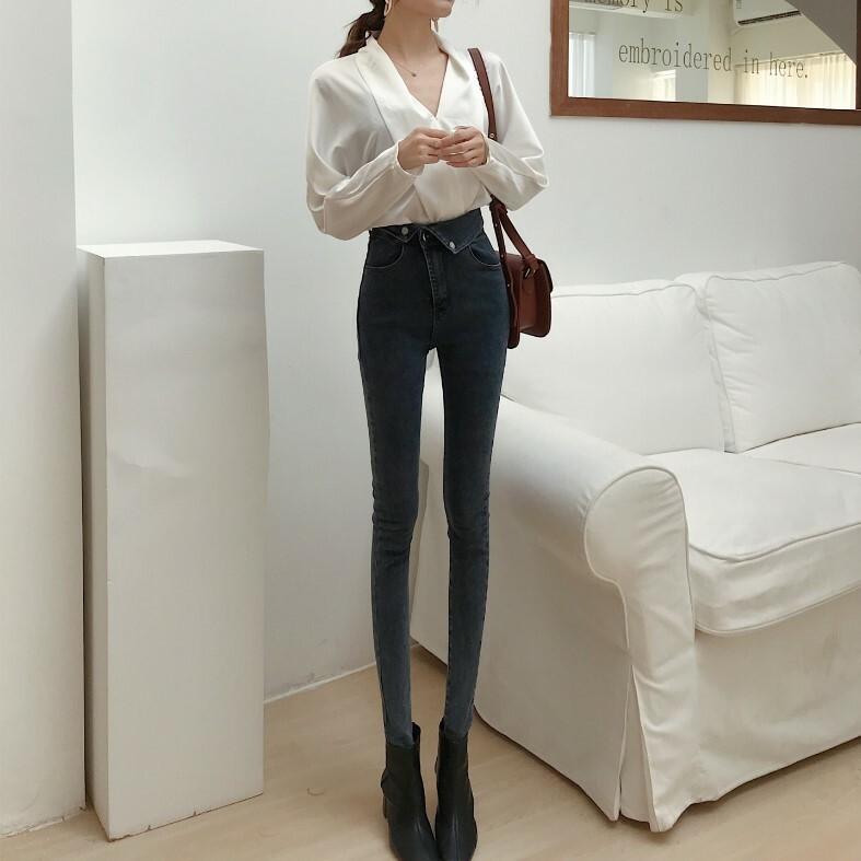 「ボトムス」韓国オルキャンファッションハイウエストカジュアル2色デニムパンツ