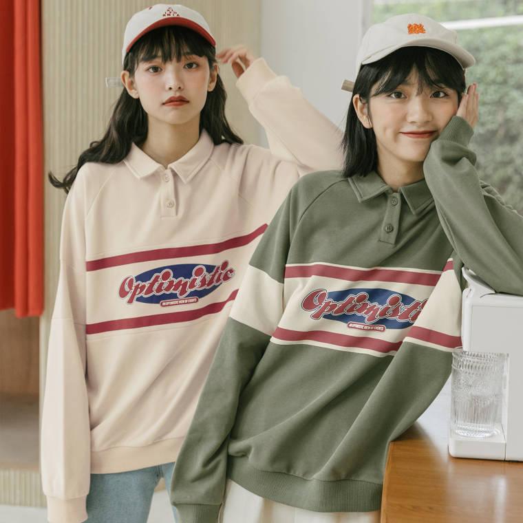 【送料無料】レトロ カジュアル ♡ ロゴ 配色 襟付き ポロシャツ プルオーバー トップス