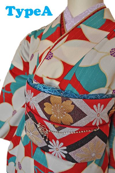 レンタル着物612-1「レンタルパーティーきもの」和風館青緑色と赤色に花柄【往復送料無料】 - 画像5