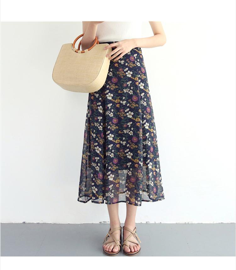 フレアスカート ロング 花 ヒップスカート シフォン