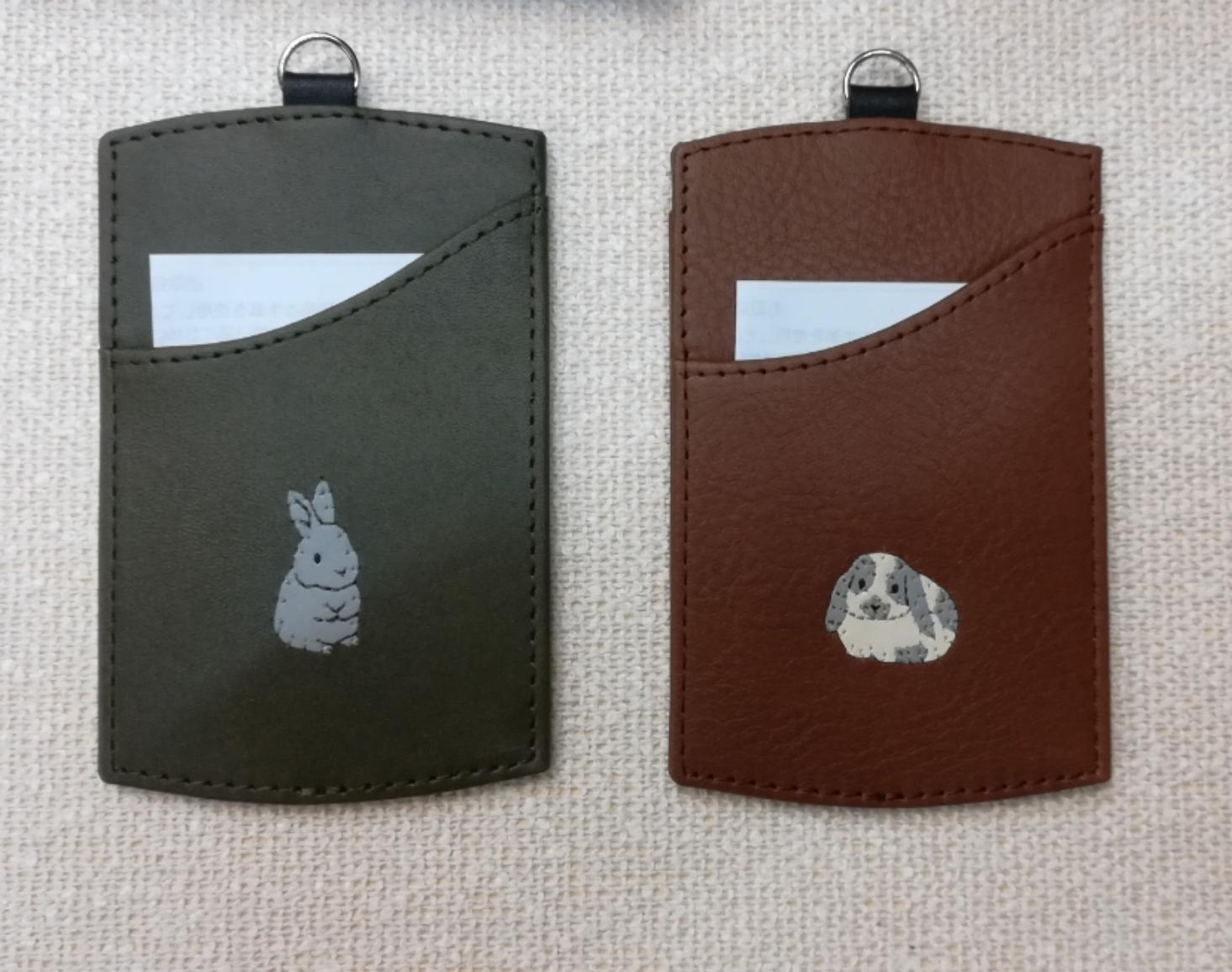 【セミオーダー】革の工房yuraric 手縫いアップリケ パスケース