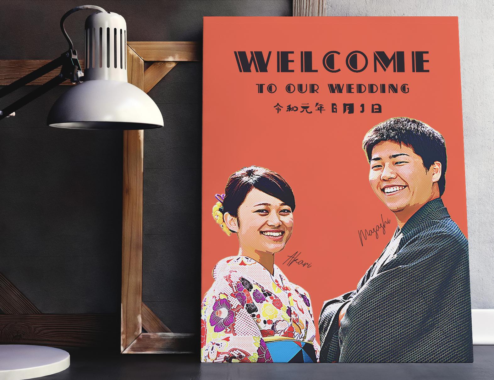 アメリカンポップアート おしゃれ写真ウェルカムボード│結婚式
