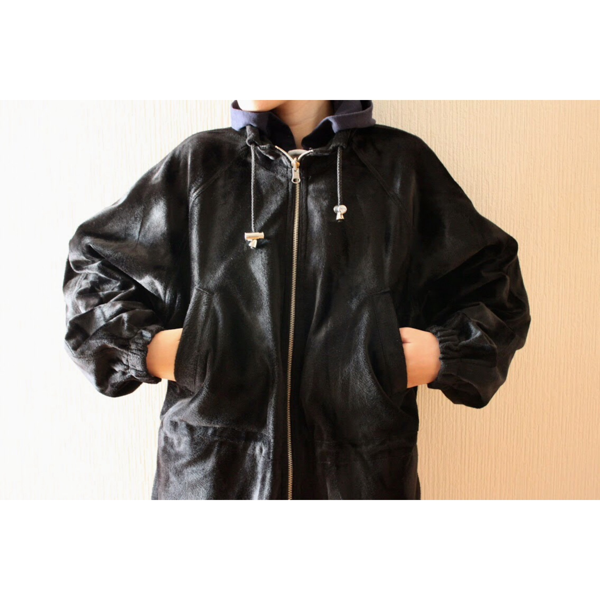 Vintage shiny fabric reversible jacket