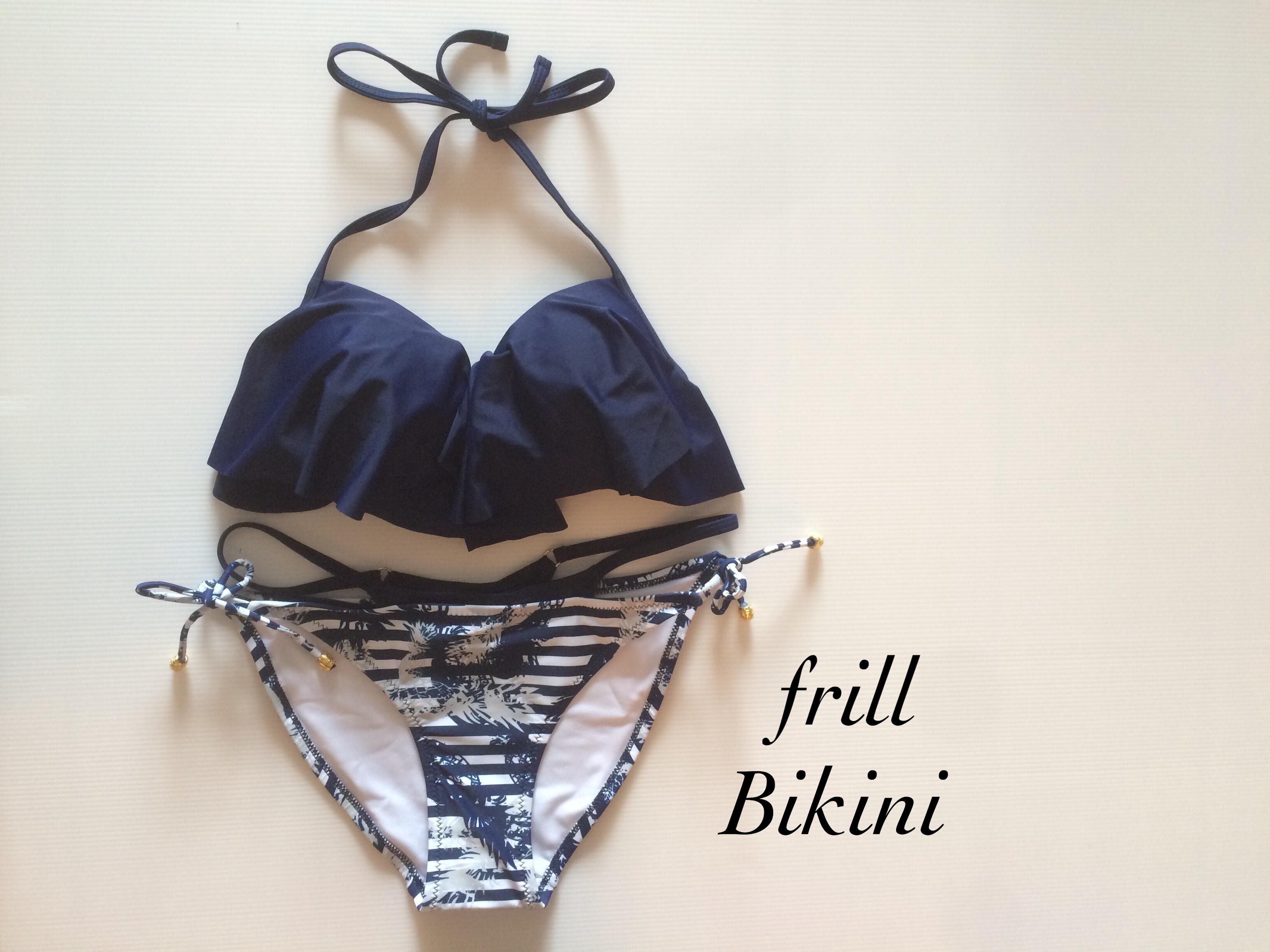 【即納】送料無料!水着 ビキニ ~frill Bikini~ 064 ネイビー