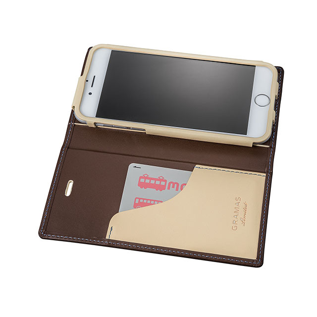 GRAMAS Full Leather Case スマホ堂 Limited for iPhone6s/6 Brown×Cream×Light Blue - 画像4