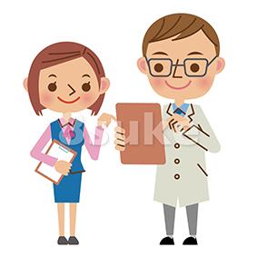 イラスト素材:バインダーを見ながら会話する医者と医療事務スタッフ(ベクター・JPG)