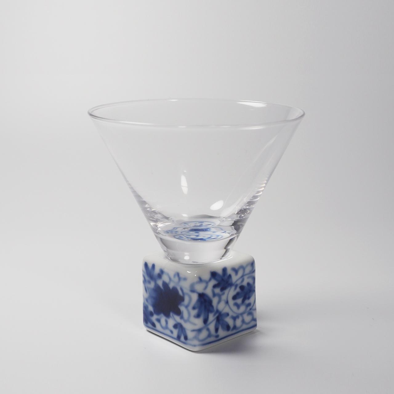 酒グラス(正角) 染付華唐草 20-003-B