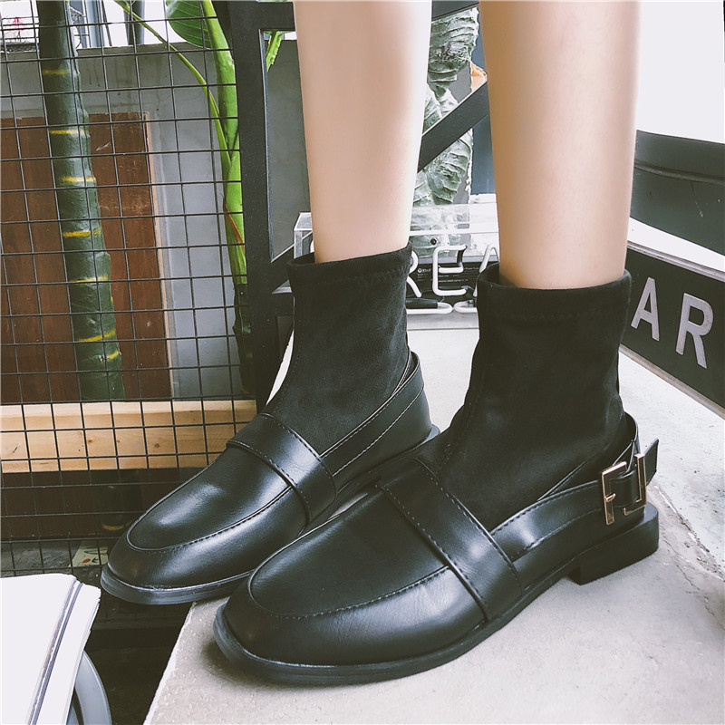 【shoes】レトロベルトバックルラウンドヘッドスリーブブーツ13857346