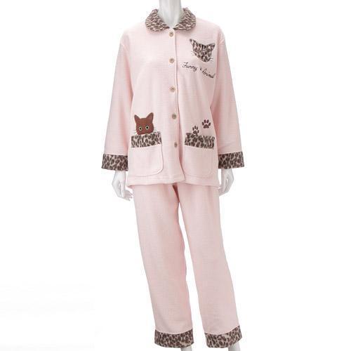 【お取り寄せ】ねこパジャマ シャツタイプ  ピンク
