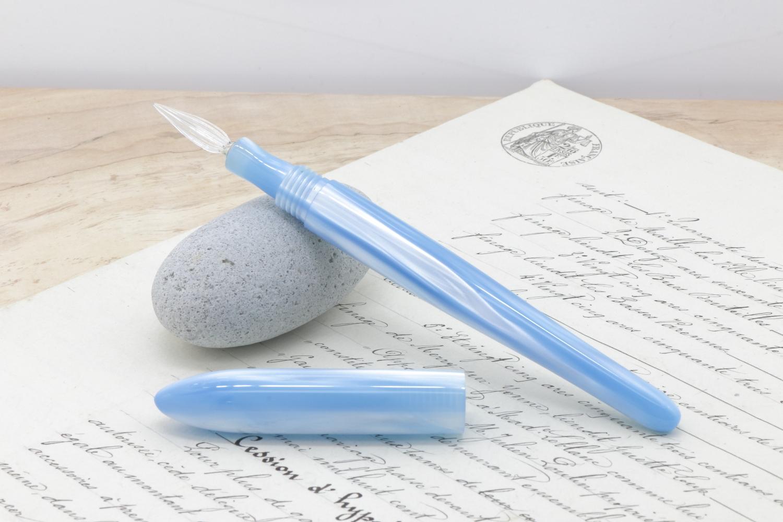 受注生産 キャップ付きガラスペン「No38 アイスブルーウィンド」Viriditas手作りペン