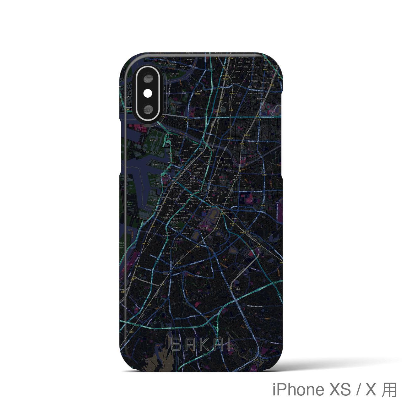【堺】地図柄iPhoneケース(バックカバータイプ・ブラック)