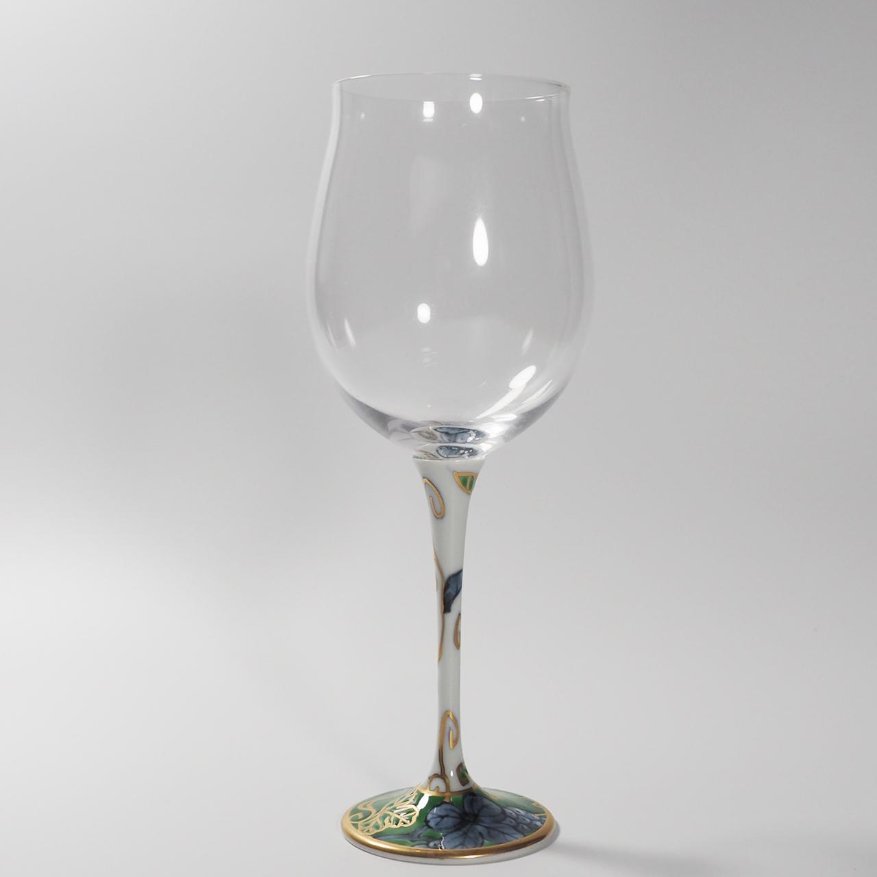 ハイレッグワイングラス(小) (染錦葡萄グリーン) 20-007-C