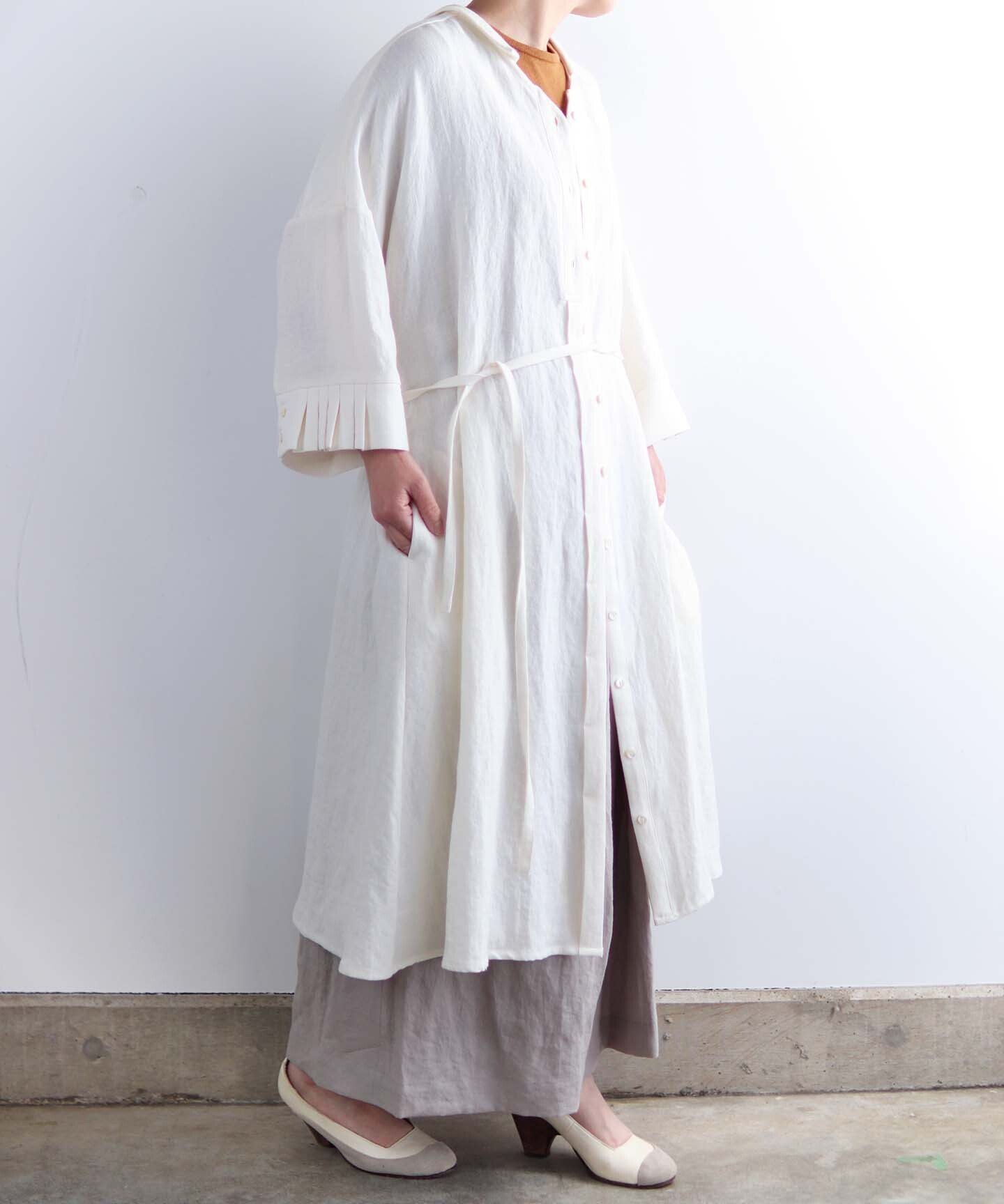 ベルギーリネン ワンピースドレス (evh633  )