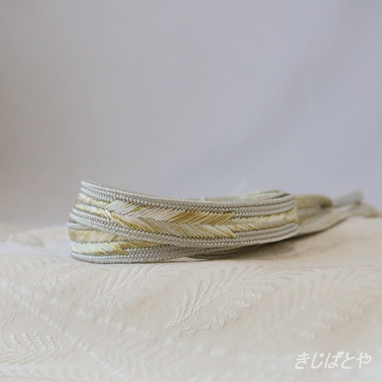 正絹 鳥の羽のような帯締め 胡粉色(ごふんいろ)