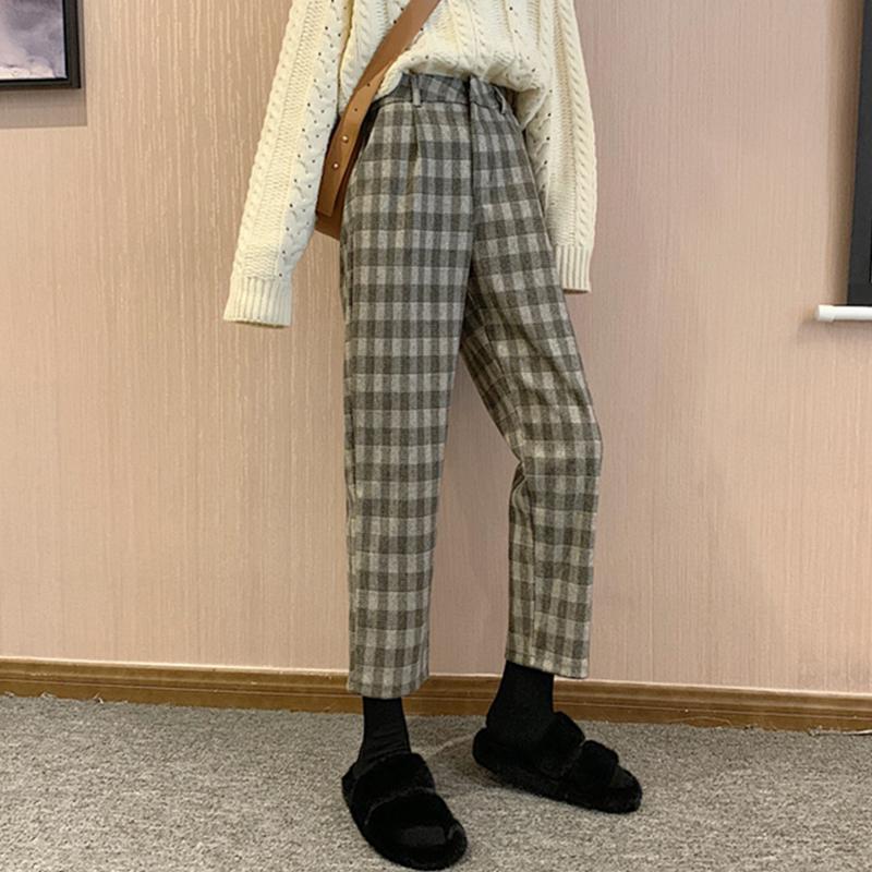 【送料無料 】おしゃれシルエット ♡ チェック柄 カジュアル 大人可愛い テーパード パンツ ボトム